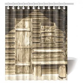 MYPOP Cortina de ducha rústica, antigua puerta de granero de madera ...