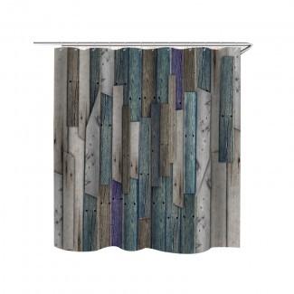 Cortina de ducha Patrón de puerta de granero de madera rústica Cortina de baño ...