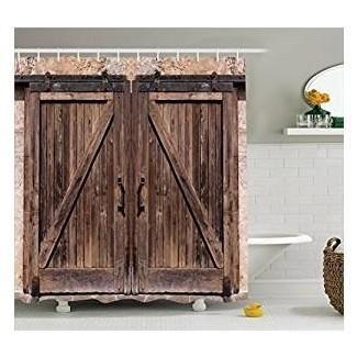 Amazon.com: cortina de ducha rústica Ambesonne, granero de madera ...