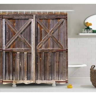 Cortina de ducha de cortina rústica puerta de granero de madera ...