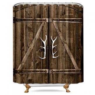 Juego de baño de cortina de ducha de puerta de granero de garaje de madera ...