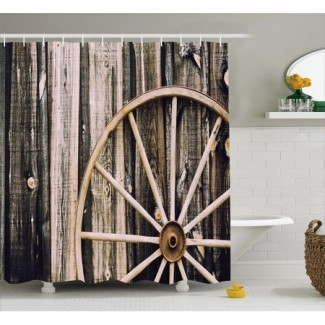 Cortina de ducha con ruedas de vagón de madera de granero, puerta de granero de madera y