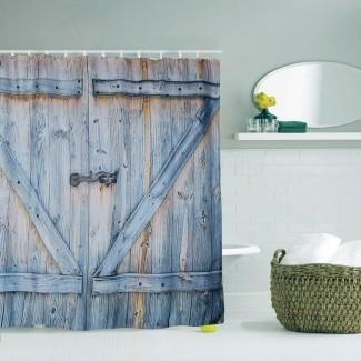 Puerta de granero rústica CORTINA DE DUCHA Tablón de madera Granja Vintage ...