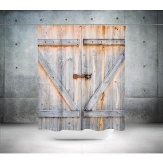 Cortina de ducha de puerta de granero Granja Cortina de ducha de granja