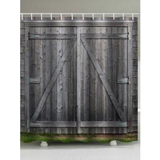 Decoración de baño de cortina de ducha con estampado de puerta de granero retro 2018 ...
