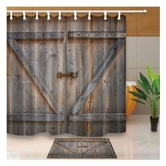 Cortina de ducha de madera rústica puerta de cortina decoración de dormitorio ...