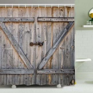 Cortina de ducha con puerta de granero |