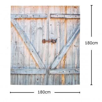 Rústica puerta de granero CORTINA DE DUCHA Tablón de madera Granja Vintage ...