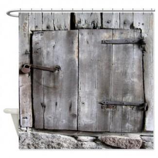 Artículos similares a la cortina de ducha Old Barn Door en Etsy