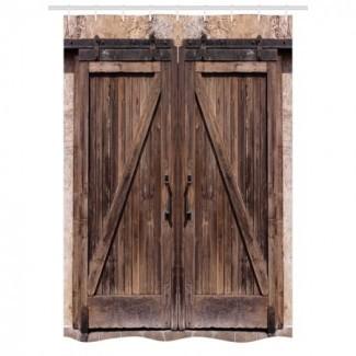 Cortina de ducha rústica, puerta de granero de madera en piedra ...