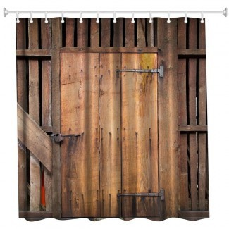 2019 The Barn Doors Poliéster Cortina de baño Baño ...