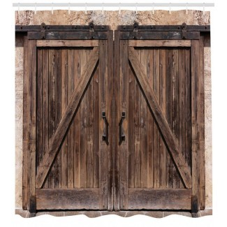 Cortina de ducha rústica puerta de granero de madera imagen impresa para ...