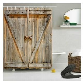 Juego de baño de madera rústica con puerta de granero, ducha a prueba de agua ...