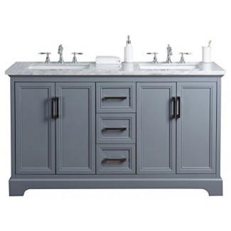 """Stufurhome HD-1525G-60 -CR Ariane 60 pulgadas gris pizarra doble tocador doble lavamanos de baño, 60 """", gris"""