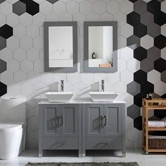 """Combo de tocador de baño con lavabo doble de 48 """"Vidrio Glass Tablero de mármol gris Pintura gris Madera con grifo , Juego de espejo y desagüe (madera maciza + encimera de mármol)"""