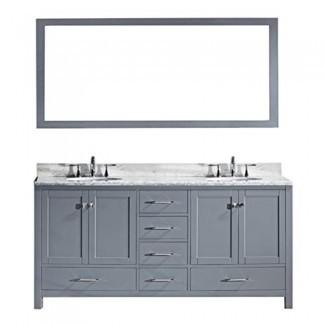 Virtu USA Caroline Avenue Juego de tocador de baño de doble lavabo de 72 pulgadas en gris con lavabo cuadrado bajo encimera, encimera de mármol blanco italiano Carrara, sin grifo, 1 espejo - GD-50072-WMSQ-GR