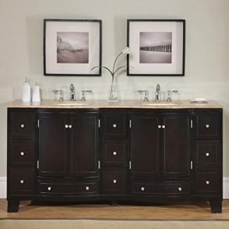 "Tocador de baño de fregadero doble de piedra travertino con encimera exclusivo de Silkroad con gabinete doble, 72 "", madera oscura"