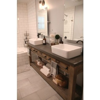 Baño: tocador doble de Home Depot para un baño elegante ...