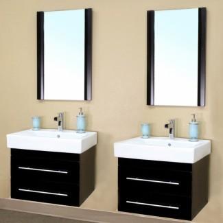 48 Tocador de baño de montaje en pared de doble lavabo de pulgadas en negro