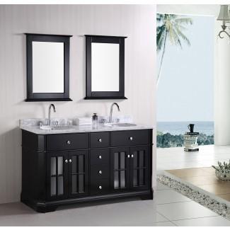 Baño: inmaculado tocador de lavabo doble de 60 pulgadas para ...