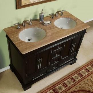 Baño de encimera de piedra de travertino de lavabo doble compacto de 48 pulgadas ...