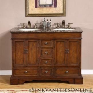 "48 ""Sedona - Mueble de baño pequeño con lavabo doble 0715"