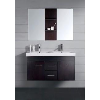 47 pulgadas con doble moderno Lavabo de baño Vanity Espresso con ...