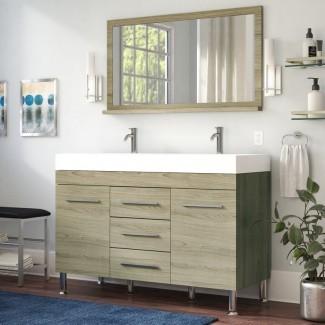 """Waldwick - Juego de tocador de baño moderno doble de 48 """"con espejo"""