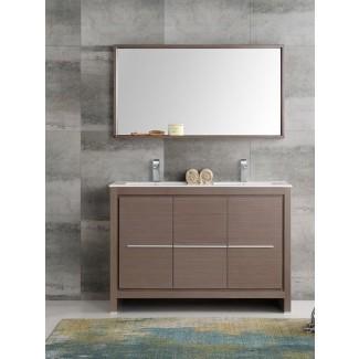 "Juego de tocador de baño con fregadero doble moderno Allier de 48 ""de Trieste con espejo"