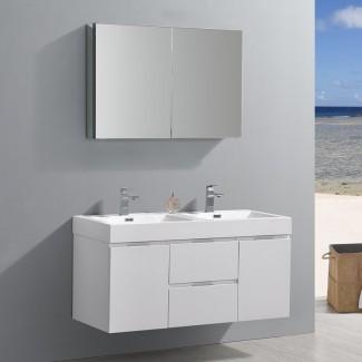 Senza Valencia - Juego de tocador de baño doble montado en la pared, doble con espejo