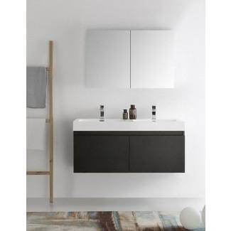 """Senza - Juego de tocador de baño moderno, montado en la pared, doble, 48 """", Mezzo, con espejo"""