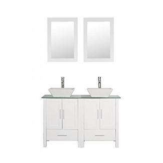 """Mueble de baño de doble lavabo de 48 """"con tapa de vidrio, madera blanca con grifo y desagüe de espejo"""