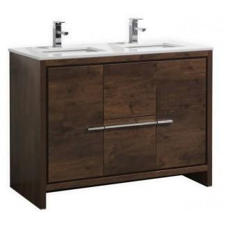 Vanidad de baño de doble lavabo moderno de madera rosa de 48 pulgadas de ancho