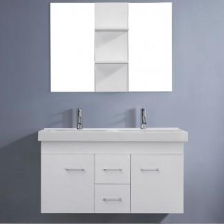Juego de tocador Virtu USA Opal de 48 pulgadas con doble lavabo blanco ...