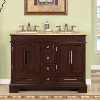 Tocador de baño de 48 pulgadas con doble lavabo en nogal oscuro UVSR022448