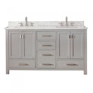 Tocador de baño de 48 pulgadas con decoradores de hogar de doble lavabo ...