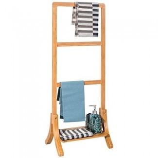 Colgador de bastidor de toalla de bambú independiente con almacenamiento en baño de estante inferior