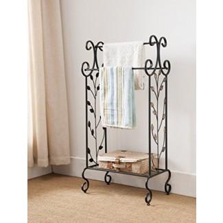 Kings Brand Furniture - Metal negro con estante para toallas sin hoja de oro con estante