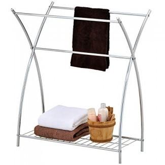 MyGift - Toallero y soporte para toallas de baño, 3 barras, cromado, con repisa de alambre, tono plateado