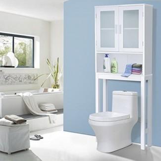 Gabinete de almacenamiento de madera, torre de gabinete de almacenaje de artículos de tocador de lino de doble puerta para guardar el espacio en el inodoro (61.3)