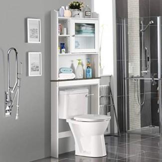 Giantex Ahorrador de espacio para colgar sobre el inodoro con espacio para colgar en el baño con gabinete de almacenamiento, blanco y negro (1 puerta con estantes múltiples)