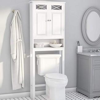 Gabinete de almacenamiento sobre el inodoro: organizador moderno para ahorrar espacio con 2 puertas y estante abierto