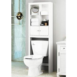 Spirich Estante de baño para el hogar sobre el inodoro, Organizador de gabinete de baño sobre el inodoro, Almacenamiento de gabinete de ahorro de espacio, Acabado blanco