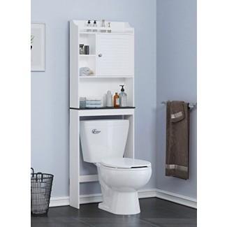 Spirich Estante de baño para el hogar sobre el inodoro, Organizador de gabinete de baño sobre el inodoro con puerta de rejilla, acabado blanco