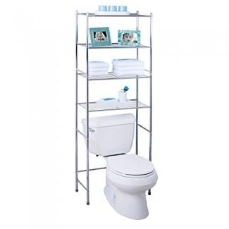 Honey-Can-Do BTH-05281 Ahorrador de espacio en el estante de baño de metal de 4 niveles, 24.02 x 11.02 x 67.72, cromo