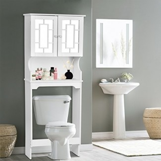 Giantex Ahorrador de espacio para guardar el baño sobre el inodoro con estante y gabinete de recolección con espejo de 2 puertas (blanco)