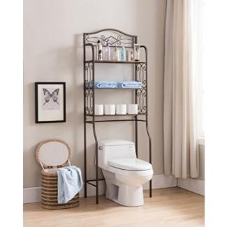 Kings Brand sobre el inodoro de almacenamiento Etagere Organizador de estantes de baño Rack