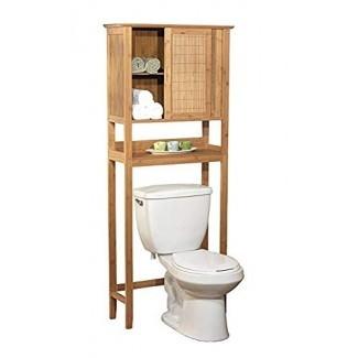 Espacio de almacenamiento de baño de bambú natural Space Saver - Toallero sobre inodoro