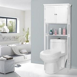 Armario de madera para inodoro con doble puerta, estante de almacenamiento para guardar el espacio sobre el inodoro del baño (68.5)