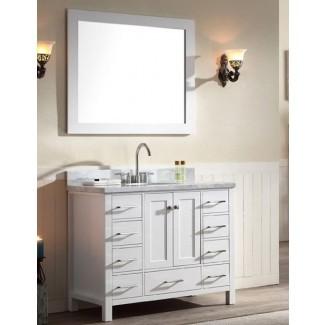 """Juego de tocador de baño de lavabo simple, 43 """", acabado blanco, Carrara ..."""